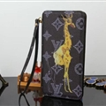 LV Animals Giraffe Flip Leather Case Universal Holster for iPhone 7 Plus Louis Vuitton Cover - Black