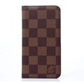 LV Classic Plaid Leather Case Universal Holster for iPhone 7 Plus Louis Vuitton Cover - Brown