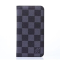LV Classic Plaid Leather Case Universal Holster for iPhone 7 Plus Louis Vuitton Cover - Gray
