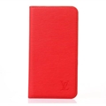 LV Classic Water Ripple Leather Case Universal Holster for iPhone 7 Plus Louis Vuitton Cover - Red