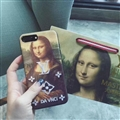 LV Embroidery Leather Case for iPhone 7 Plus Louis Vuitton Oil Painting Hard Cover - Davnci