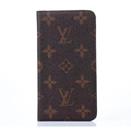 LV Flower Print Leather Case Universal Holster for iPhone 7 Plus Louis Vuitton Cover - Brown