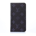 LV Flower Print Leather Case Universal Holster for iPhone 7 Plus Louis Vuitton Cover - Gray