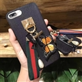 Luxury Gucci Embroidery Butterfky Canvas Soft Cases for iPhone 7 Plus Tassels Back Cover - Black