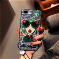 Cartoon Embroidery Goddess Silicone Cases For iPhone 8 Lanyard Laser Covers - Green