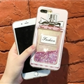 Chanel Glitter Sequins Perfume Bottle Silicone Cases For iPhone 8 Soft Back Covers - Pink