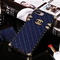 Chanel Leather Lanyards Rivet Metal Cases Shell For iPhone 8 Anti-seismic Soft Covers - Blue