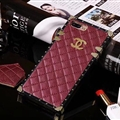 Chanel Leather Lanyards Rivet Metal Cases Shell For iPhone 8 Anti-seismic Soft Covers - Wine red