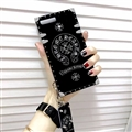 Chrome Hearts Pattern Silicone Cases For iPhone 8 Acrylic Lanyard Rivet Mirror Covers - Black