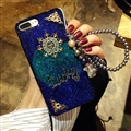 Chrome Hearts Sparkle Sequins Silicone Cases For iPhone 8 Lanyard Rivet Mirror Covers - Blue
