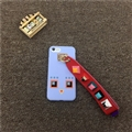 Cute Fendi Monster Leather Case for iPhone 8 Lanyard Rivet Hard Cover - Blue