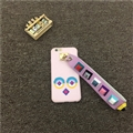 Cute Fendi Monster Leather Case for iPhone 8 Lanyard Rivet Hard Cover - Pink