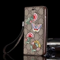 Gucci Embroidery Flowers Flip Leather Cases Holster for iPhone 8 Rope Cover - Brown