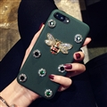 Gucci Honeybee Leather Cases For iPhone 8 Rhinestone Lanyard Silicone Covers - Green