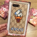 Gucci Pattern Embroidery Donald Duck Leather Case Hard Back Cover for iPhone 8 - Brown