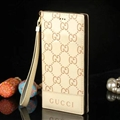 Gucci Print Flip Leather Case Universal Holster Skin for iPhone 8 Rope Cover - Beige