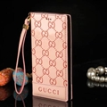 Gucci Print Flip Leather Case Universal Holster Skin for iPhone 8 Rope Cover - Pink