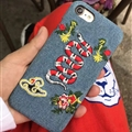 Luxury Gucci Embroidery Snake Cowboy Cloth Cases for iPhone 8 Hard Back Cover - Blue