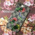 New Embroidery Flowers Gucci Pattern Leather Case Hard Back Cover for iPhone 8 - Gray