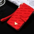 Prada Print Flip Leather Case Universal Holster Skin for iPhone 8 Rope Cover - Red