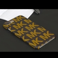 Simple MK Print Leather Case for iPhone 8 Michael Hard Back Cover - Brown