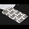 Simple MK Print Leather Case for iPhone 8 Michael Hard Back Cover - White