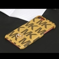 Simple Metal MK Print Leather Case for iPhone 8 Michael Hard Back Cover - Yellow