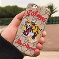 Unique Embroidery Angry Tiger Gucci Pattern Leather Case Hard Back Cover for iPhone 8 - Brown