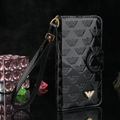 Armani Print Flip Leather Case Universal Holster for iPhone 8 Plus Monogram Vernis Cover - Black