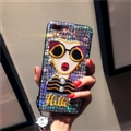 Cartoon Embroidery Goddess Silicone Cases For iPhone 8 Plus Lanyard Laser Covers - Yellow