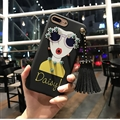 Cartoon Embroidery Goddess Silicone Cases For iPhone 8 Plus Lanyard Rivet Soft Covers - Black