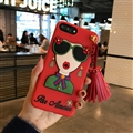 Cartoon Embroidery Goddess Silicone Cases For iPhone 8 Plus Lanyard Rivet Soft Covers - Red