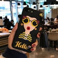 Cartoon Embroidery Goddess Silicone Cases For iPhone 8 Plus Lanyard Rivet Soft Covers - Yellow