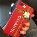 Chanel Embroidery 3D Flower Leather Case for iPhone 8 Plus Back Protective Cover - Red