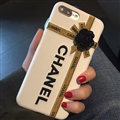 Chanel Embroidery 3D Flower Leather Case for iPhone 8 Plus Back Protective Cover - White