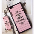 Chanel Faux Leather Rivet Lanyards Cases Shell For iPhone 8 Plus Silicone Metal Covers - Pink