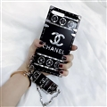 Chanel Flower Pattern Silicone Cases For iPhone 8 Plus Acrylic Lanyard Rivet Mirror Covers - Black
