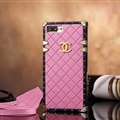 Chanel Leather Lanyards Rivet Metal Cases Shell For iPhone 8 Plus Anti-seismic Soft Covers - Pink