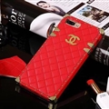 Chanel Leather Lanyards Rivet Metal Cases Shell For iPhone 8 Plus Anti-seismic Soft Covers - Red