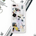 Chanel Sequins Silicone Cases For iPhone 8 Plus Lipstick Print Hard Back Covers - Transparent