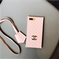 Classic Chanel Faux Leather Lanyards Cases Shell For iPhone 8 Plus Silicone Covers - Pink