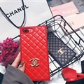 Classic Chanel Faux Leather Lanyards Cases Shell For iPhone 8 Plus Silicone Covers - Red