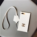 Classic Chanel Faux Leather Lanyards Cases Shell For iPhone 8 Plus Silicone Covers - White
