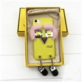 Fashion Fendi Monster Rivet Leather Case for iPhone 8 Plus Fox Fur Silicone Cover - Yellow