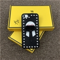 Fendi The Buddha Rivet Leather Case for iPhone 8 Plus Cowboy Grain Hard Cover - Black