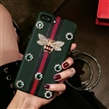 Gucci Honeybee Stripe Leather Cases For iPhone 8 Plus Rhinestone Lanyard Silicone Covers - Green