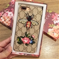 Gucci Pattern Embroidery Bee Flower Leather Case Hard Back Cover for iPhone 8 Plus - Brown