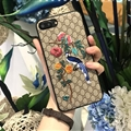 Gucci Pattern Embroidery Birds Leather Case Soft Back Cover for iPhone 8 Plus - Gray