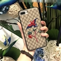 Gucci Pattern Embroidery Birds Tree Leather Case Soft Back Cover for iPhone 8 Plus - Gray