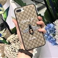 Gucci Pattern Embroidery Honeybee Leather Case Soft Back Cover for iPhone 8 Plus - Gray
